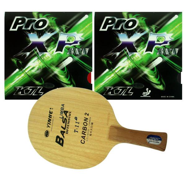 Pro Table Tennis (PingPong) Combo Racket : Galaxy YINHE T-11+ with 2 Pcs KTL Pro XP Rubber Shakehand long handle FL