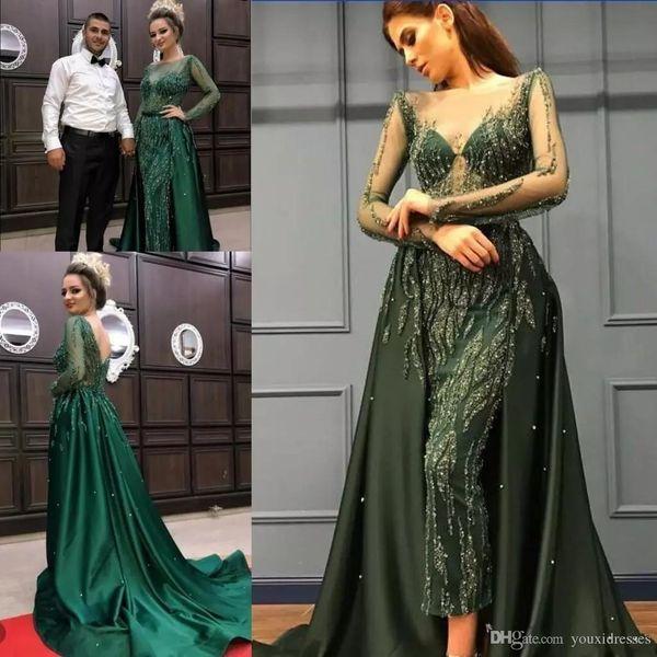 Abiti da sera con pageant di cristallo verde smeraldo con gonna oversize 2018 Abiti da sera di lusso con manica lunga a zigzag ziad nakad sheer nero manica lunga