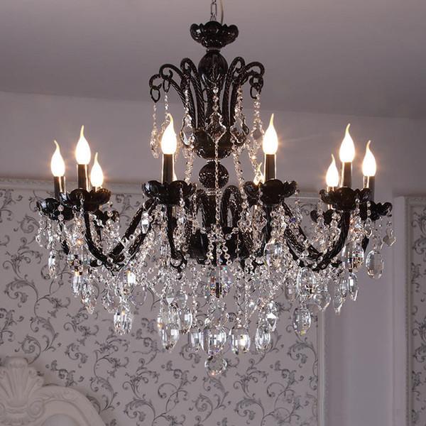 12-arm vintage Antique black chandelier home crystal lighting glass lamp living room hanging light lustres de cristal lamparas