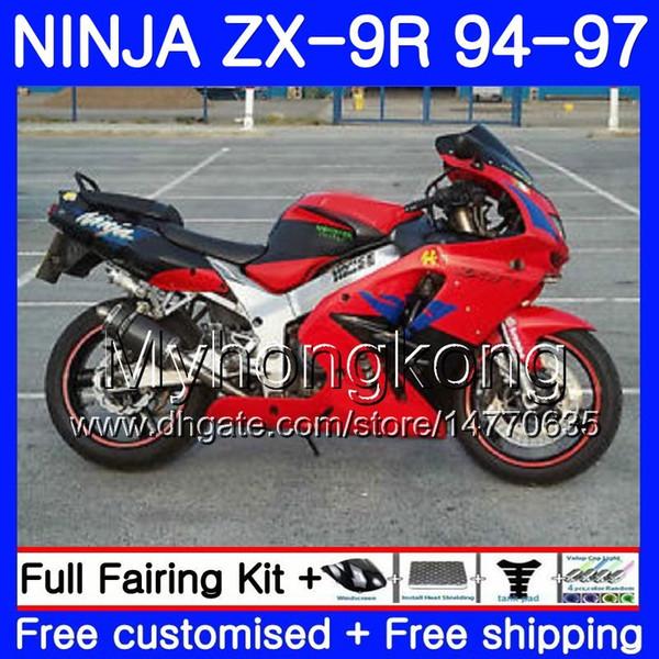 Cuerpo para KAWASAKI NINJA ZX900 ZX9R Marco rojo brillante 94 95 96 97 221HM.7 ZX 9R 94 97 ZX 9 R 900 900CC ZX-9R 1994 1995 1996 1997 Kit de carenado