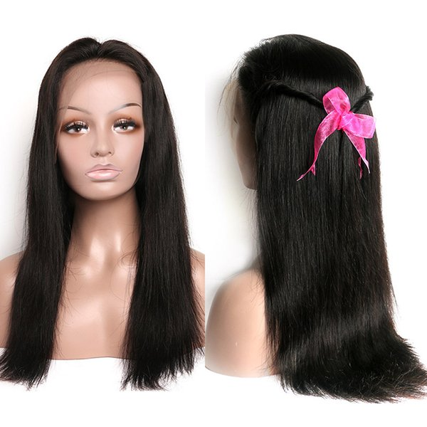 Straight Lace Front Human Hair Wigs Brazilian Virgin Hair Lace Front Wigs for Women 130 Density Lace Frontal Wigs 8A Grade Natural Color