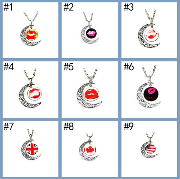 Wholesales USA UK CA National Flag Metal Glasses Necklace for World Cup Moon Shaped Pendants Chocker for Football Fans