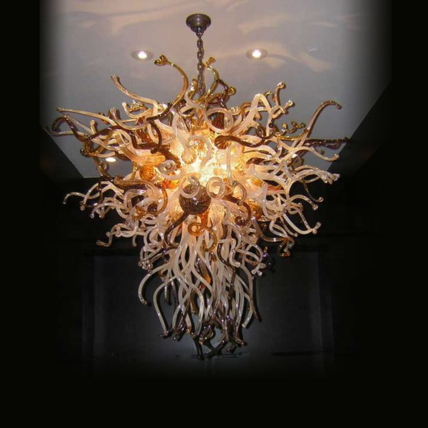 New fancy Hot Hand Blown Glass Champagne Chandeliers Light Modern Crystal Murano Glass Design Chihuly Style Chain Chandelier Pendant Lamps