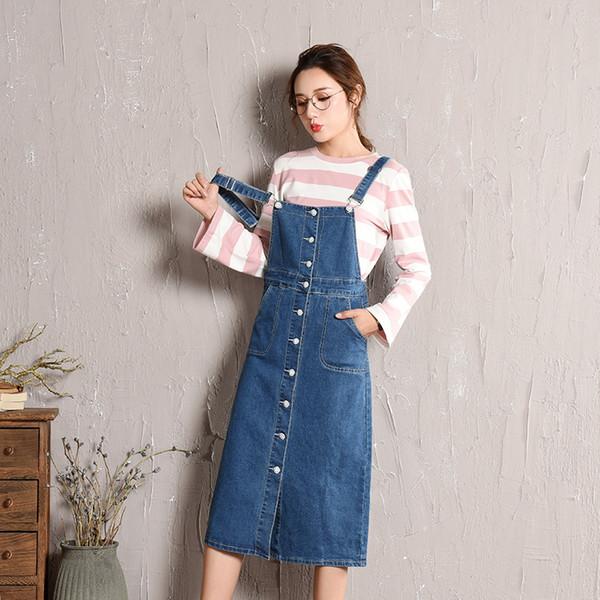 New Fashion Women's Bib Overalls Denim Dress Skirts Slim Midi Jeans Skirts Woman Cotton Blue Front Button Suspender Denim Skirt