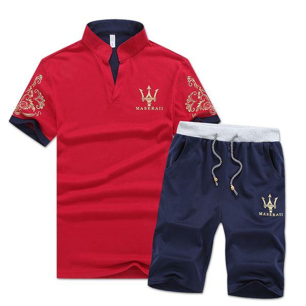 Brand Designer Luxury Mens Tracksuits Summer T-shirt+Pant Sportswear Fashion Sets Short Sleeve Running Jogging High Quality Plus Size 2018