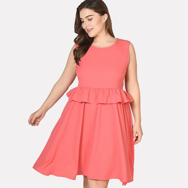 2019 Elegant Women Dress Evening Party Big Size Peplum Dress Sleeveless  Summer Sarafan Retro Ruffle Pink Dresses Plus Size 6XL From Towardnorth, ...