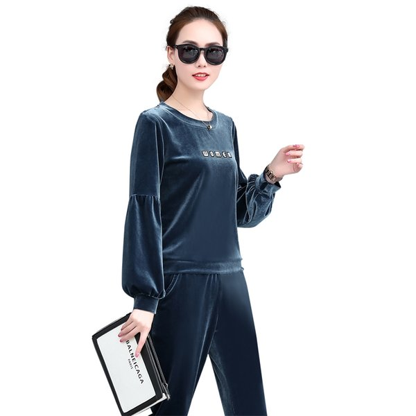 Casual Velour Sweatsuits Women 2 Piece Joggers Suits 3029 Latern Sleeve Crew Neck Velvet Pullover Blue Velour Pants Street Clothes For Women