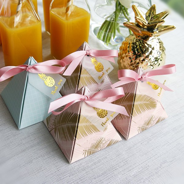 Triangular Pyramid Wedding Favors Supplies Leaves Candy Boxes with Thanks Card Gift Box Party Packaging Chocolate Box free shipping 50pcs