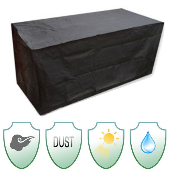 Outdoor Furniture Sofa Chair Cover Waterproof Patio Polyester + PVC Coated Garden Patio Table Desk Black Silver Color Durable