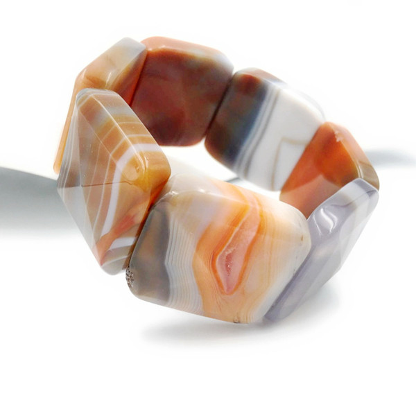 Natural Stone Crystal Agates Big Bracelet Stone Size 30x30mm Total size about 7.5''