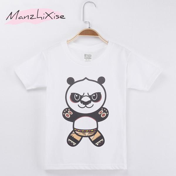 2018 Hot Popular Children T-shirt Panda Cartoon Design O-Neck White Top Cotton Short Child Shirt Girl T Shirts Kids Boy Clothing Clothes