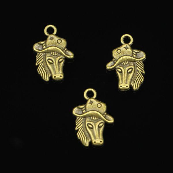 44 unids encantos de la aleación de zinc antiguo bronce plateado caballo en encantos del sombrero de vaquero para la joyería que hace DIY colgantes hechos a mano 23 * 16 mm