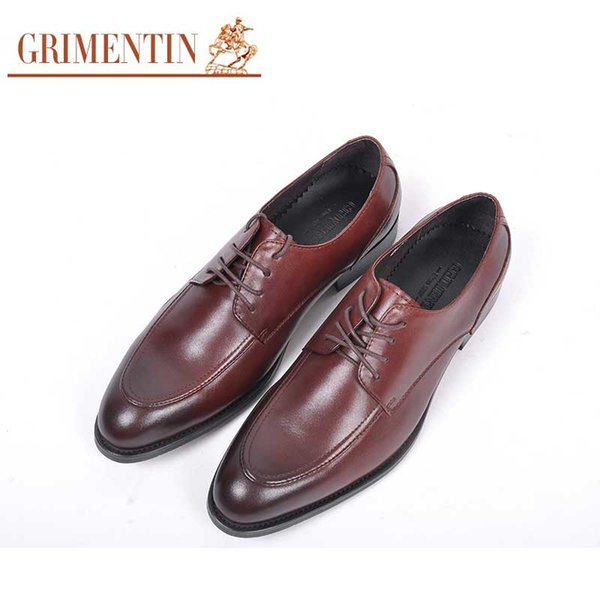 GRIMENTIN Hot sale fashion designer formal mens dress shoes Italian men oxford shoes genuine leather wedding office business male shoes RC