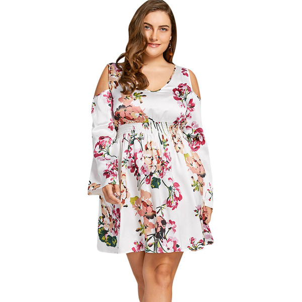 bb3d56fccfc3e Gamiss Women Party Plus Size 5XL Cold Shoulder Floral Print Mini ...