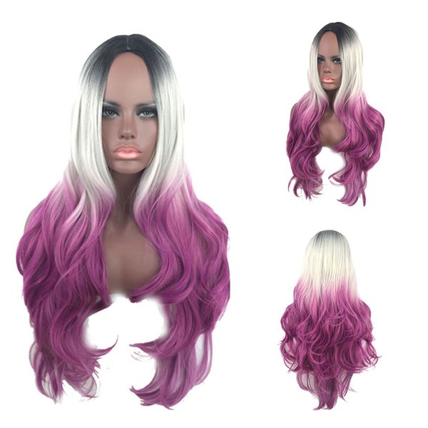 Ombre Color Wigs Long curl Glueless Lace Front Wig Synthetic Cosplay wigs Long Wavy Purple White Black Transparent Purple Colorful Ombre