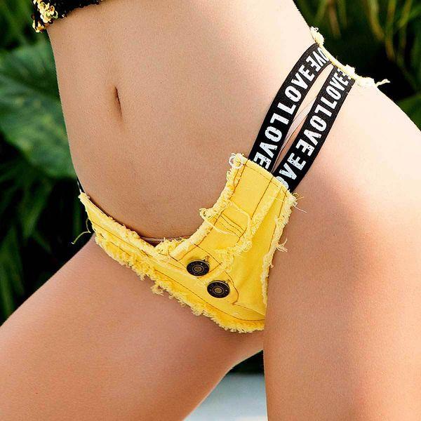 Women Summer Beach Letter Print Low Rise Beach Jeans Short Ladies Ripped frayed Edge Elastic Denim Pants Female Party Club Short