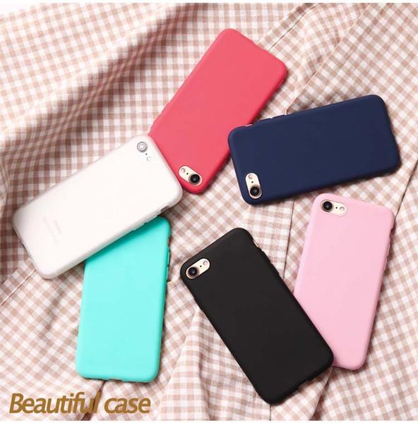 Cas de téléphone pour iPhone 7 6 6s 8 X Plus 5 5s SE XR XS Max Simple Solide Couleur Ultramince Doux TPU Cas Couleur Bonbon Couverture Arrière