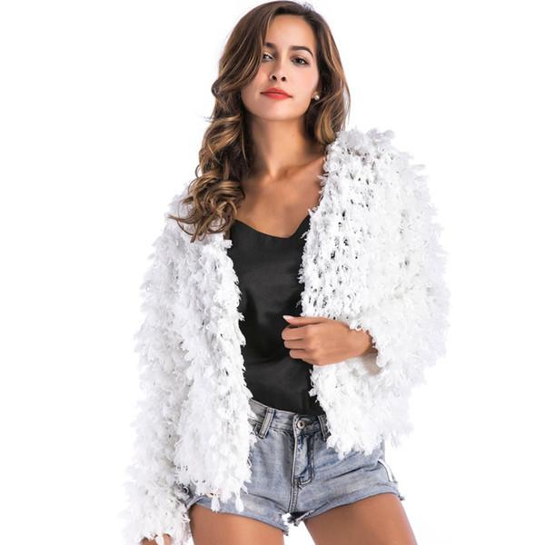 Weiße Strickjacke Mäntel Weibliche 2018 Herbst und Winter Casual Weihnachtsfeier Langarm Crochet Pullover Frauen Strickjacke Tops