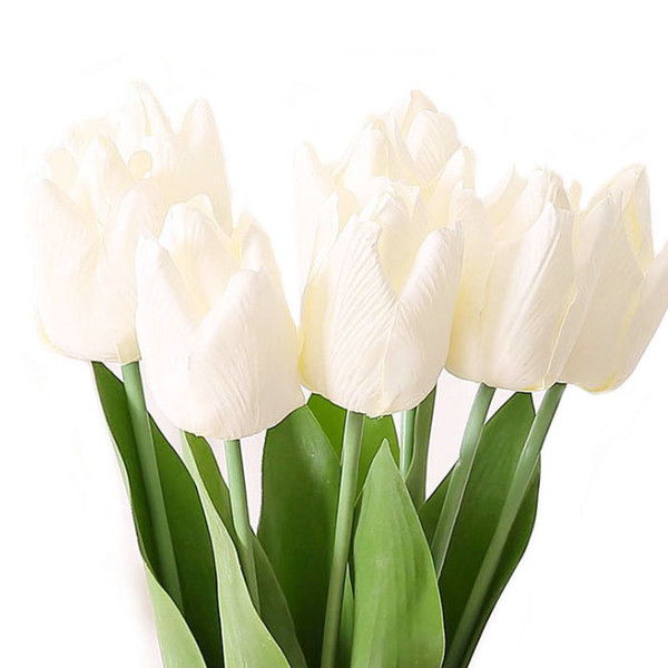 20''Tulip stem artificial flower in white pink large real touch tulips for outdoor garden decorationbridal bouquet or wedding centerpiece