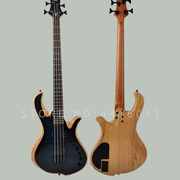 Guitarra de 4 cuerdas Mayones personalizada de fábrica de alta calidad con arce flameado cuerpo de ceniza bajo eléctrico instument musical tienda