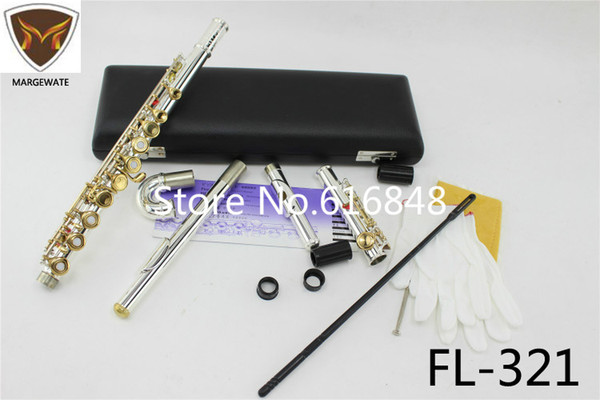 MARGEWATE FL-321 Standards Silver Plated Flute 16 17 Holes C Tune Gold Lacquer Key Closed Open Hole With Case Small Curved Head
