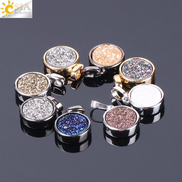CSJA Natural Round Crystal Drusy Geode Beads Gem Stone Pendant for DIY Necklace Bracelet Earrings Handmade Gold Color Jewelry Findings F119