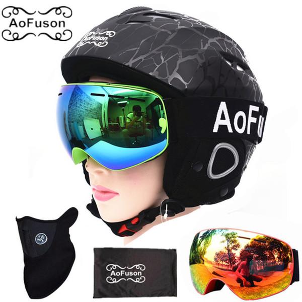 Ski equipment set double layers anti-fog big vision snowboard goggle mask women&men skiing snowmobile winter warm ski helmet