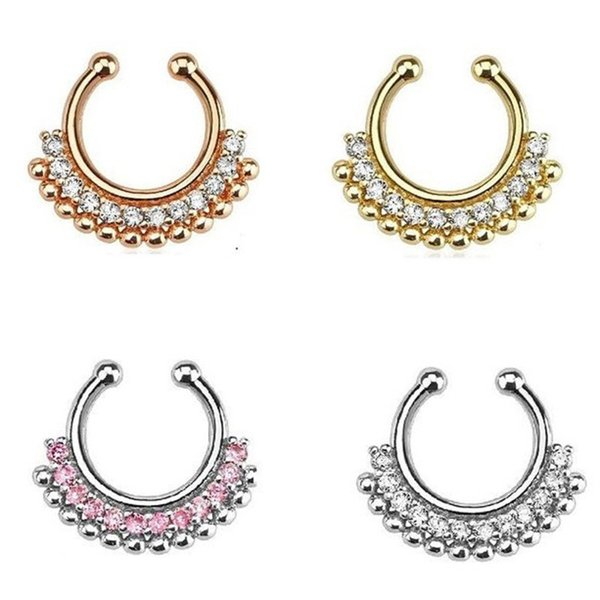 30pcs indian fashion crystal gold-color fake septum ring silver fake nose ring piercing for women body jewelry Free shipping