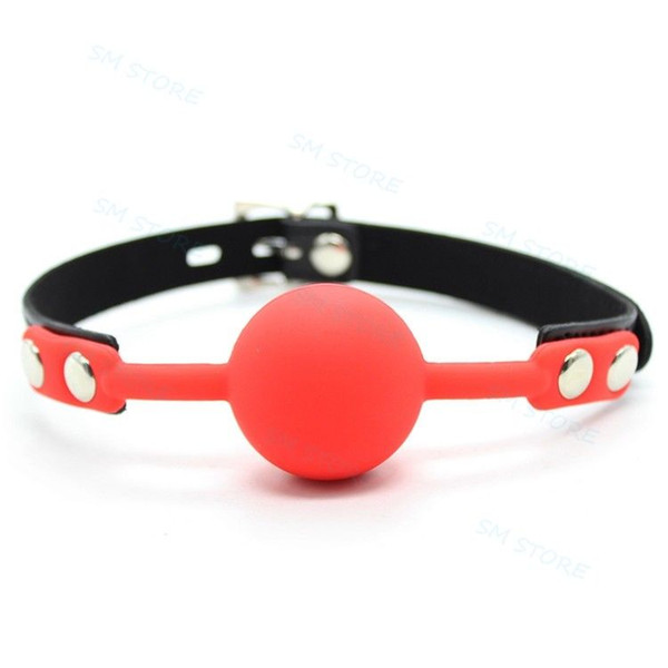 Solid Silicone Leather Strap Oral Harness 4CM Big Ball Mouth Gag Muzzle Loacking #R45