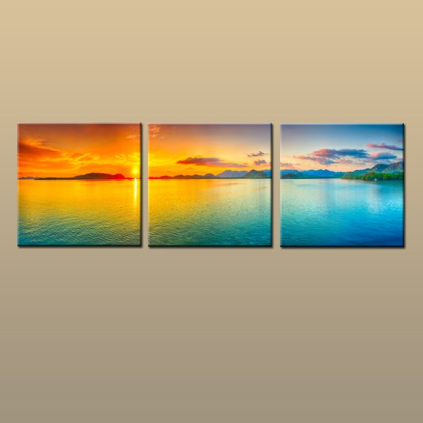 Framed/Unframed Hot Modern Contemporary Canvas Wall Art Print Painting Beach Sunset Seascape Picture 3 piece Living Room Home Decor ABC040