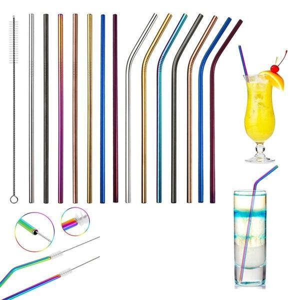 top popular 6*265mm Stainless Steel Straw Colorful Straw Bend And Straight Reusable Metal Drinking Straw Bar Drink Tools Party Wedding Decoration 2021