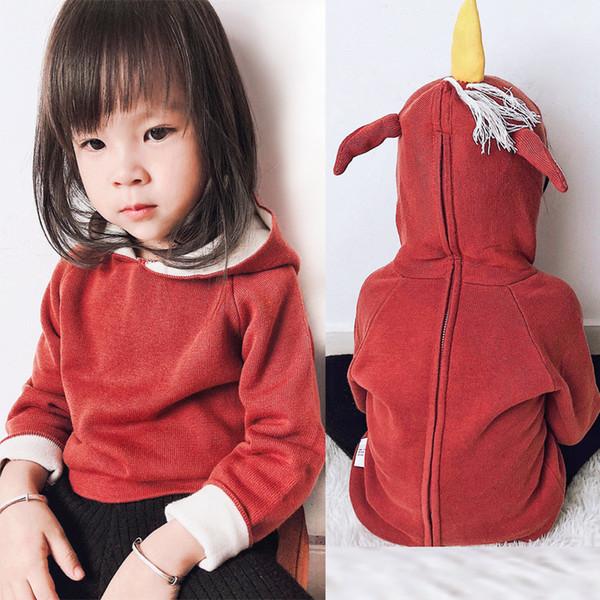 2018 neue INS Kinder Hoodie 100% Baumwolle Pullover Einhorn mit Kapuze Pullover Boutique Baby Mädchen Kleidung Doppel Strick Herbst Winter