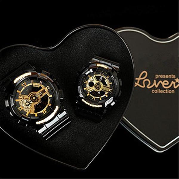Couple Sport poignets montres S choc montres G Style hommes imperméables à l'eau électriques montres multifonctions LED numérique montre-bracelet en caoutchouc