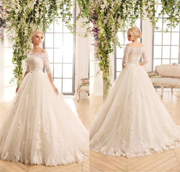 Two Pieces Detachable Bodice A Line Lace Wedding Dresses Tulle ...