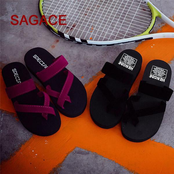 Tongs d'été pour femmes Pantoufles décontractées Sandales plates Plage Chaussures à bout ouvert p # dopship