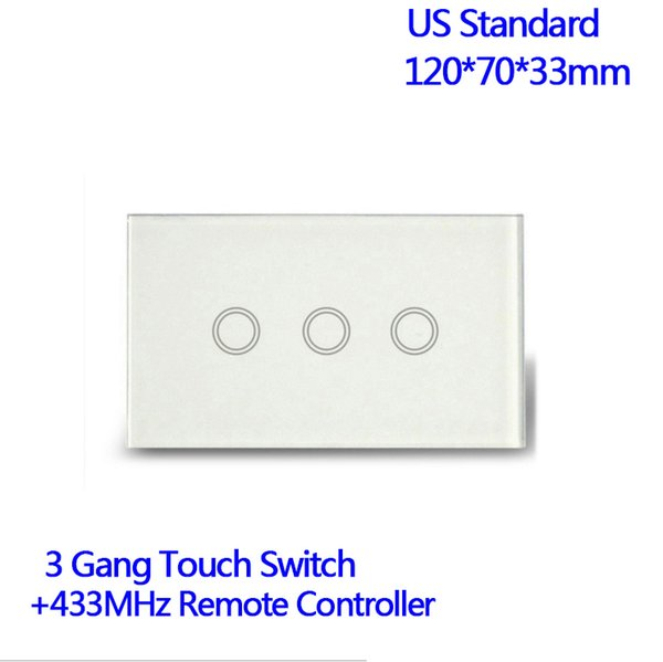 Remote Control 3 Gang 1 Way Waterproof Tempered Glass Plate Touch Light Electronic Switch US Standard With Pilot