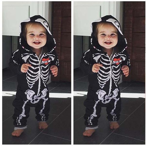 Bambini Costumi di Halloween per Bambini Skull Skeleton Baby Pagliaccetti Hooded Neonato Vestiti Infantili Toddler Ragazzi Ragazze Tuta Abbigliamento per bambini