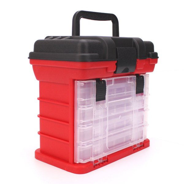 4 layers fishing tackle boxs 3colors PP+ABS fishing accessories tools storage case for storing lures hooks reels