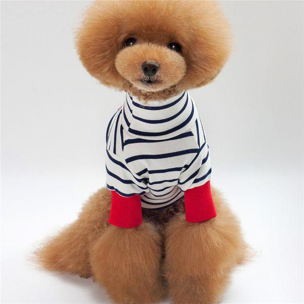 Bigeyedog Moda Dog T-shirt Listrado T-Shirt Para Pet Roupas de Cachorro Colete de Verão Chihuahua Poodle Yorkies Roupas Traje Do Filhote de cachorro