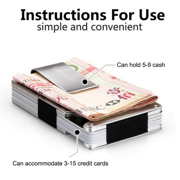 Mini  Holder Thin Metal ID Anti-Chief Metal Wallet Travel Black Silver Stainless Steel Bank Cards Box