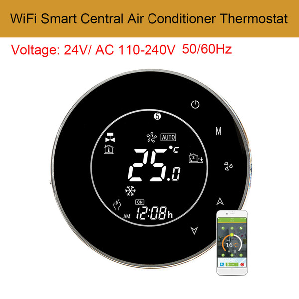 AC110-240V WiFi Controlador de Temperatura Central Do Ar Condicionado Inteligente LCD Backlight Touchscreen 2 Pipe Termostato Programável