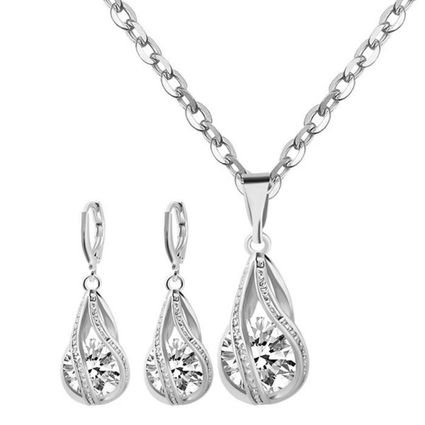 Silver Screw Teardrop Crystal Cage Pendant Earrings & Necklace Jewelry Sets Helix Cage Pendant For DIY Locket Necklace Lock In Zircon