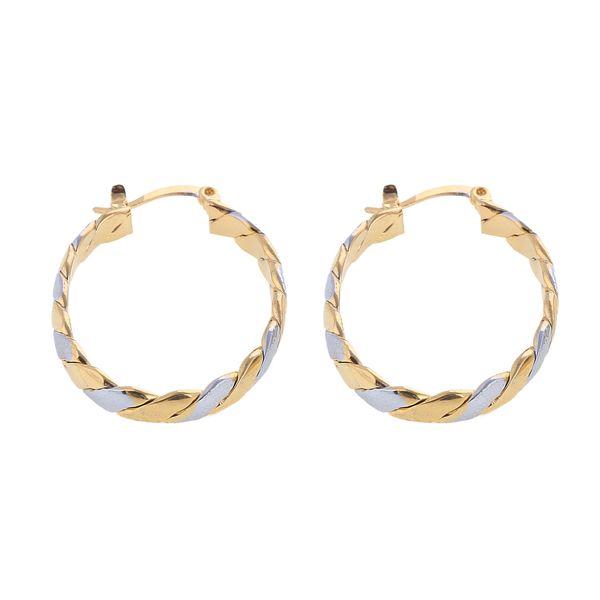 Two Tone Women Girls Earrings Jewelry Yellow Gold Filled Clip Hoop Earring