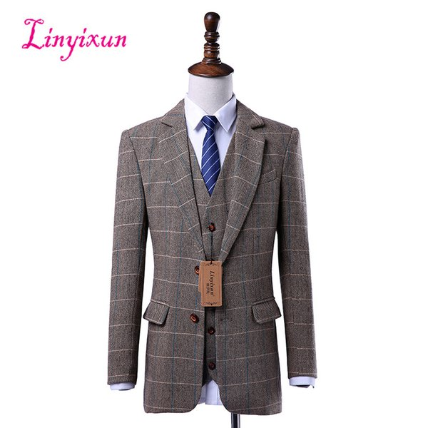 Linyixun Wool Brown Tweed Custom Made Men suit Blazers Retro tailor made slim fit Skinny formal wedding suits for men 3 Pieces