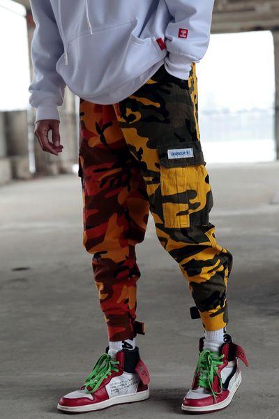 Erkekler kamuflaj kargo jogger pantolon genç kalça pop camo Harajuku eşofmanları erkek gevşek çoklu cep yüksek sokak harem sweatpants