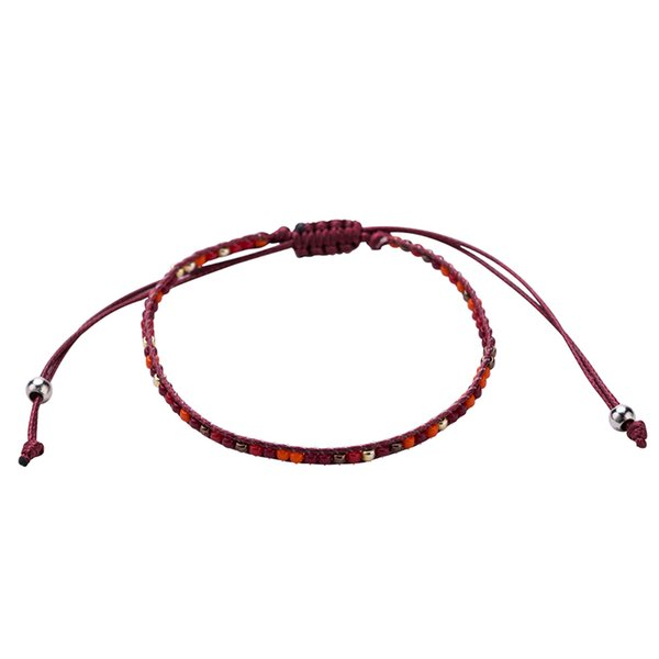 Bohemian Small Acrylic Beads Hand Braided Bracelet Red Rope Handmade Thread Adjustable Braclet For Women Men Casual Jewelry Accessories