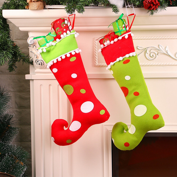 New Christmas Decorations Home Decor Gift Bag Red Green Socks Show Window Hang Decorations Large Gift Bag Cheap Christmas Decorations Online Cheap