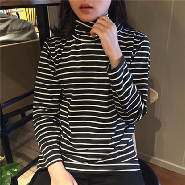 Tee Shirts Woman 2017 Spring New Korean Harajuku Striped Turtleneck T-shirt For Women Long Sleeve T-shirts Casual Tops