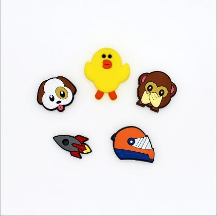 Wholesale New Cartoon animal chicken dog monkey rocket helmet Soft Decoration Charms Flat PVC DIY Gadgets Novelty Accessories X-19