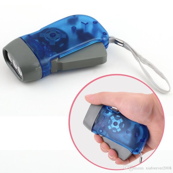 Free Shipping protable 3 LED Dynamo Wind Up Flashlight Torch Light Hand Press Crank NR Camping